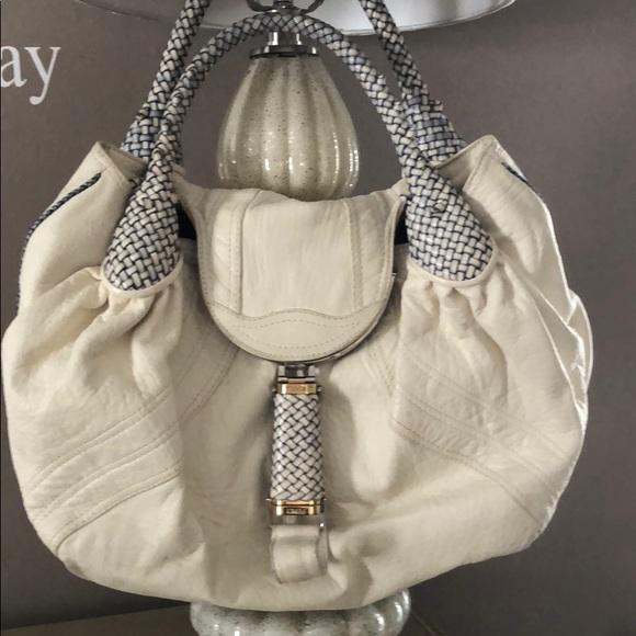 3f77d132869a Fendi Handbags - Fendi cream and navy blue spy bag Nappa authentic